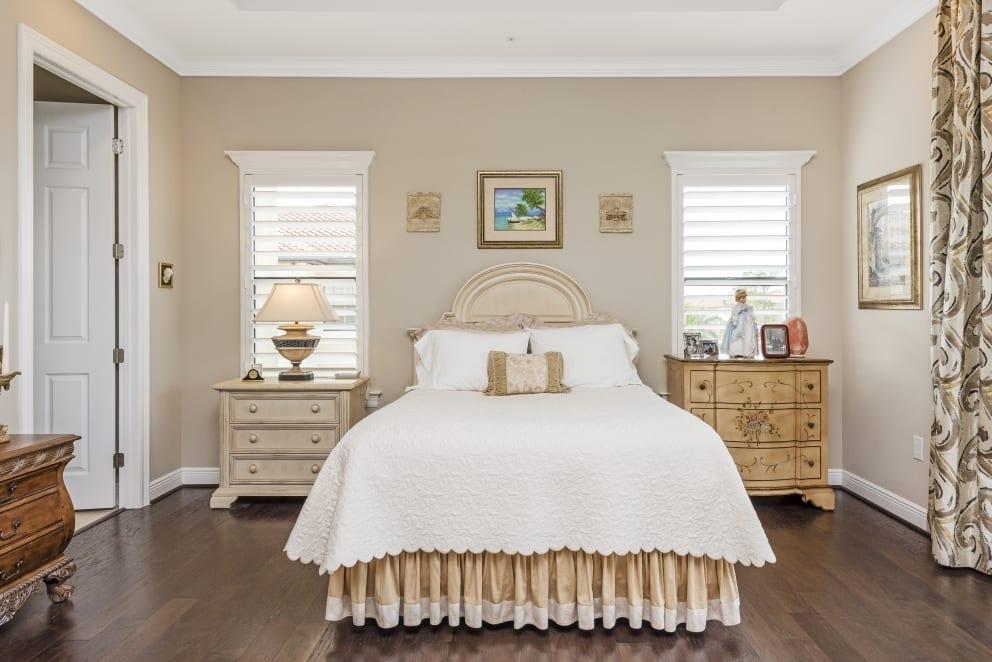 Beige Bedroom Blinds Wood Floors