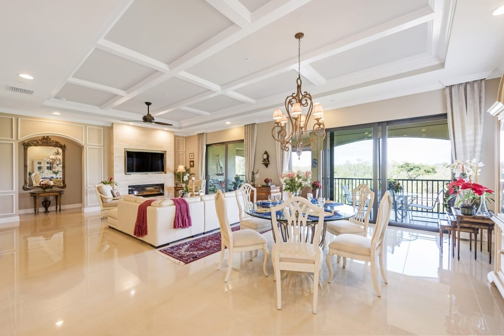 Living Rooms Biege Tiles Dinning Room Chandelier Roses
