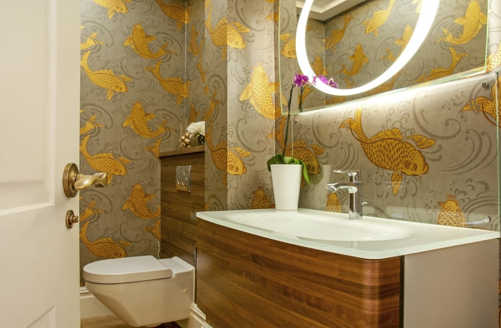 Sink Toilet Gold Fish Wall Paper