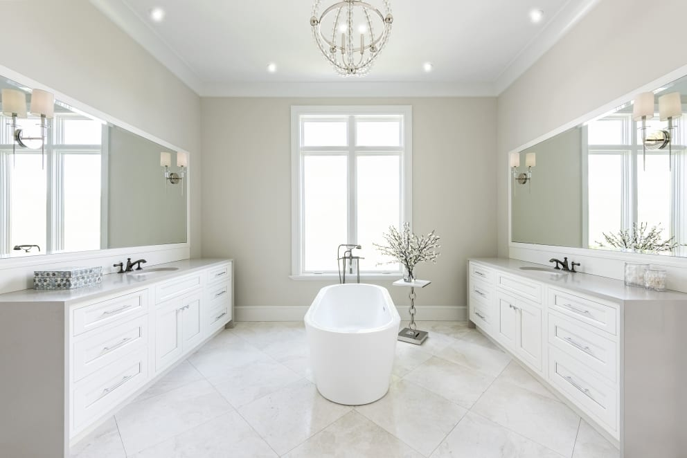 Cream Twined Bathroom White Bath
