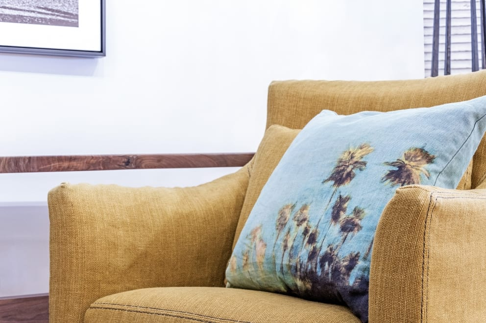 Dark Yellow Arm Chair Turquoise Palm Tree Printed Pillow