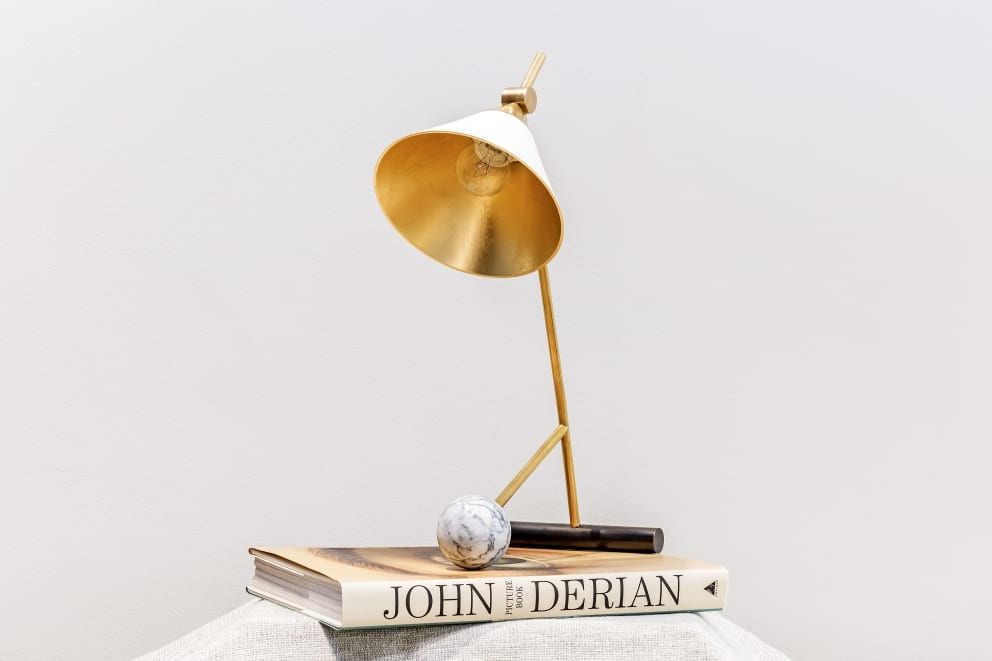 Desk Top Lamp Gold Lined Marble Ball John Derian