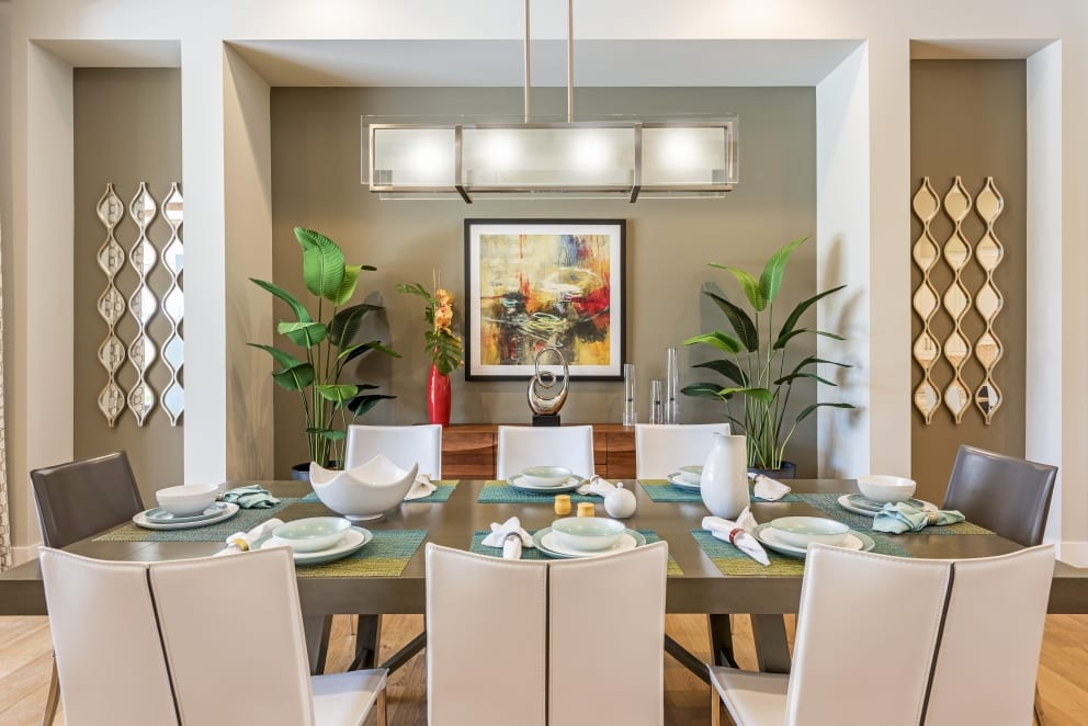 Dinning Room Table Contemporary Abstract Painting Palm Leaf Plants Mirror Wall Features