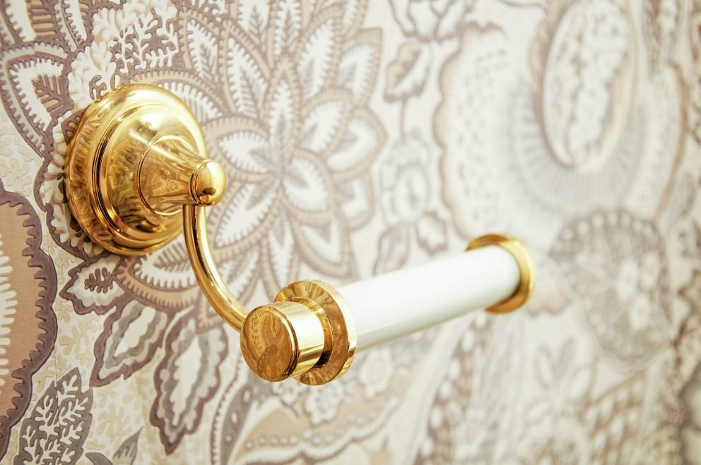 Gold Decorative Toilet Roll Holder Floral Embossed Wallpaper