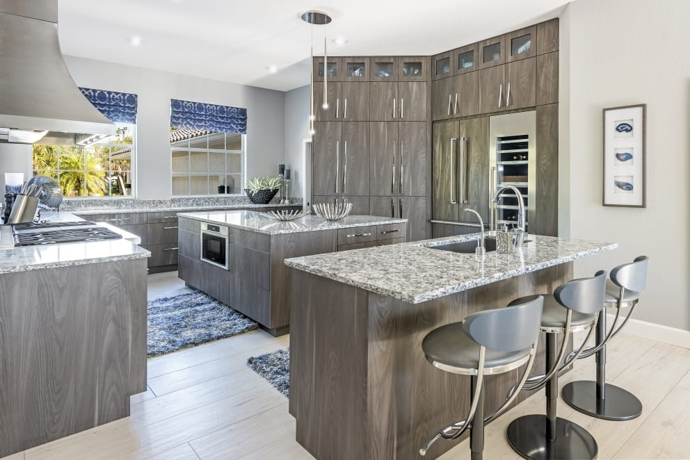 Kitchen Gray Dark Wood Cabinets Marble Countertop