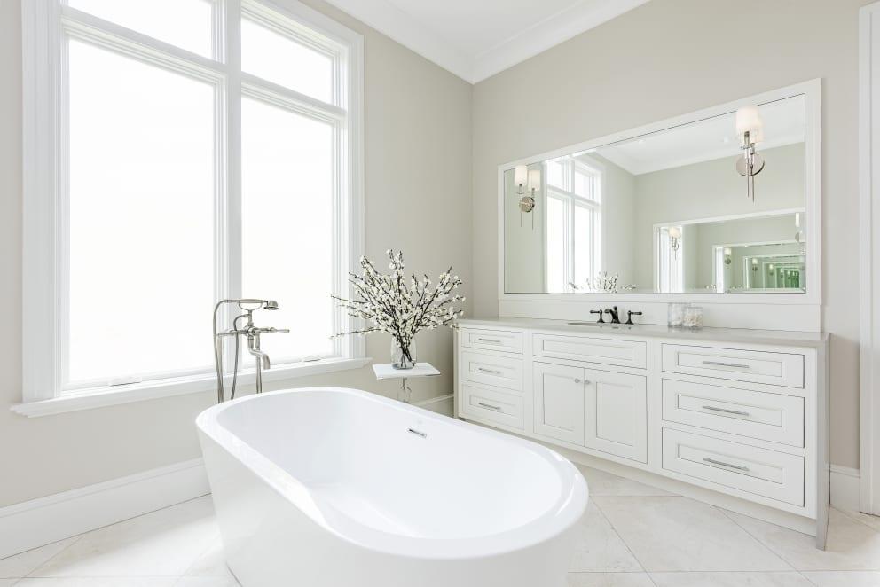 Light Beige Bathroom Embossed Sink Counter Top Cabinets