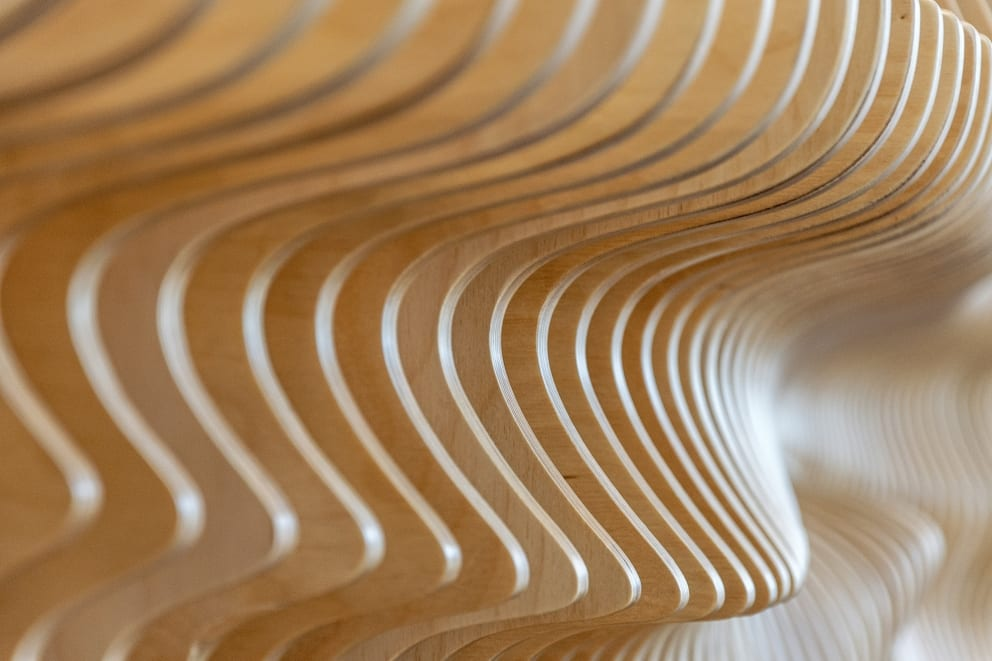 Nick Odonnell Contemporary Bench Wave Bench Sabel Palm Detail Low Depth Of Field