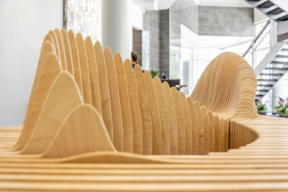 Nick Odonnell Contemporary Bench Wave Bench Sabel Palm Detail Waves Close Up