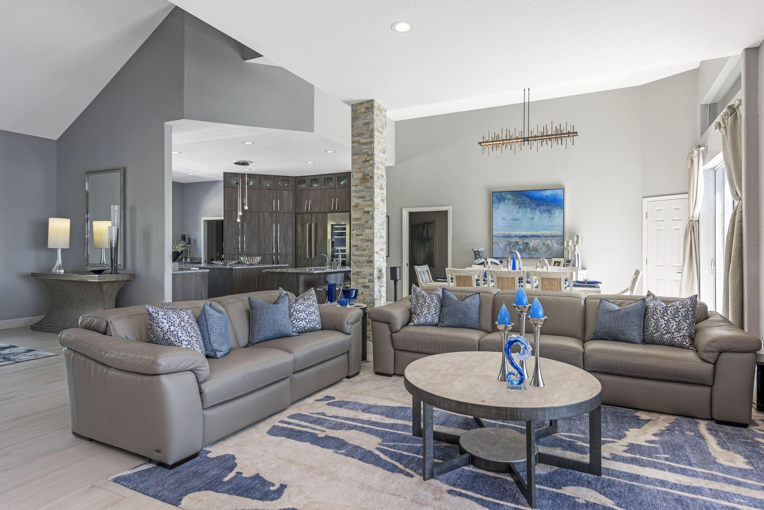 Open Plan Livingroom Dinningroom Kitchen Gray Walls