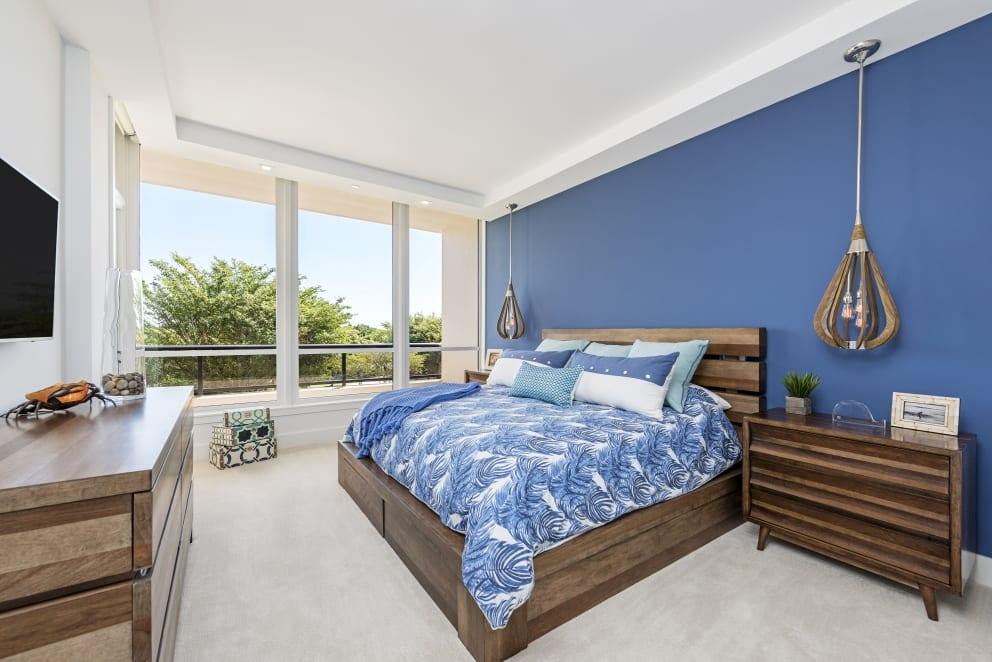 Blue Feather Duvet Cover Wood Slat Lights Wood Base Bed Frame