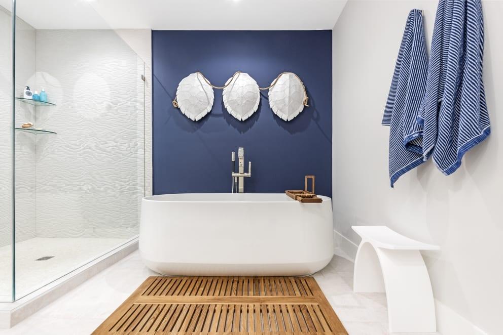 Blue Wall Turtle Shells Rope Bath Stripped Blue Towels