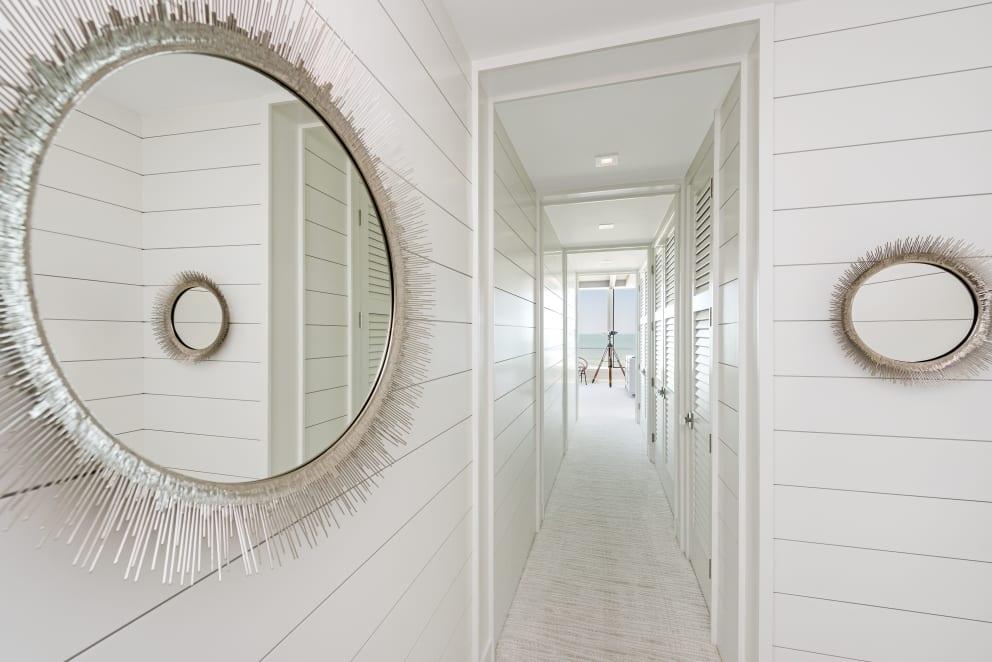 Circle Mirrors Reflection White Laminate Wall Slats Corridor