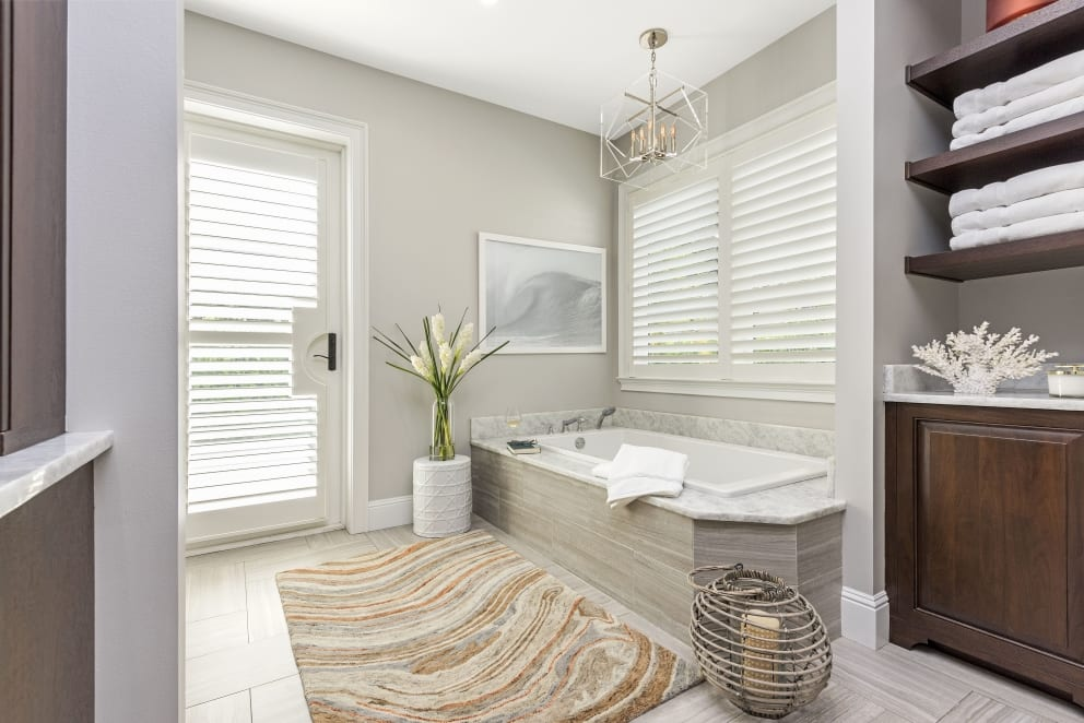 Gray Bathroom Flowers Wood Cabinets Wave Picture Blinds Door