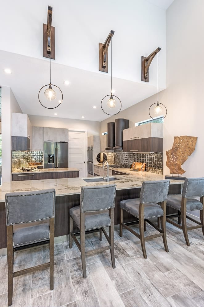Marble Counter Top Breakfast Bar Hanging A Frame Hanging Ball Lights Halo