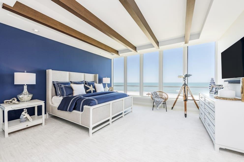 Royal Blue Bed Spread Star Fish Pillow Wood Beams