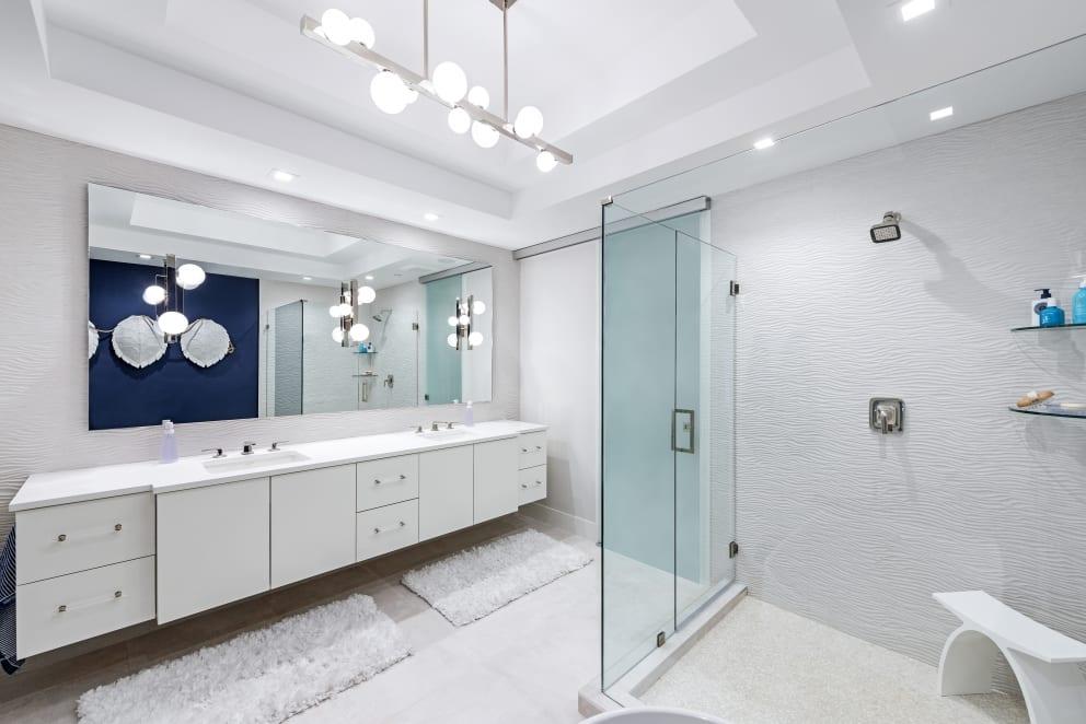 White Bathroom Turtle Shells Textured Wall Tiles