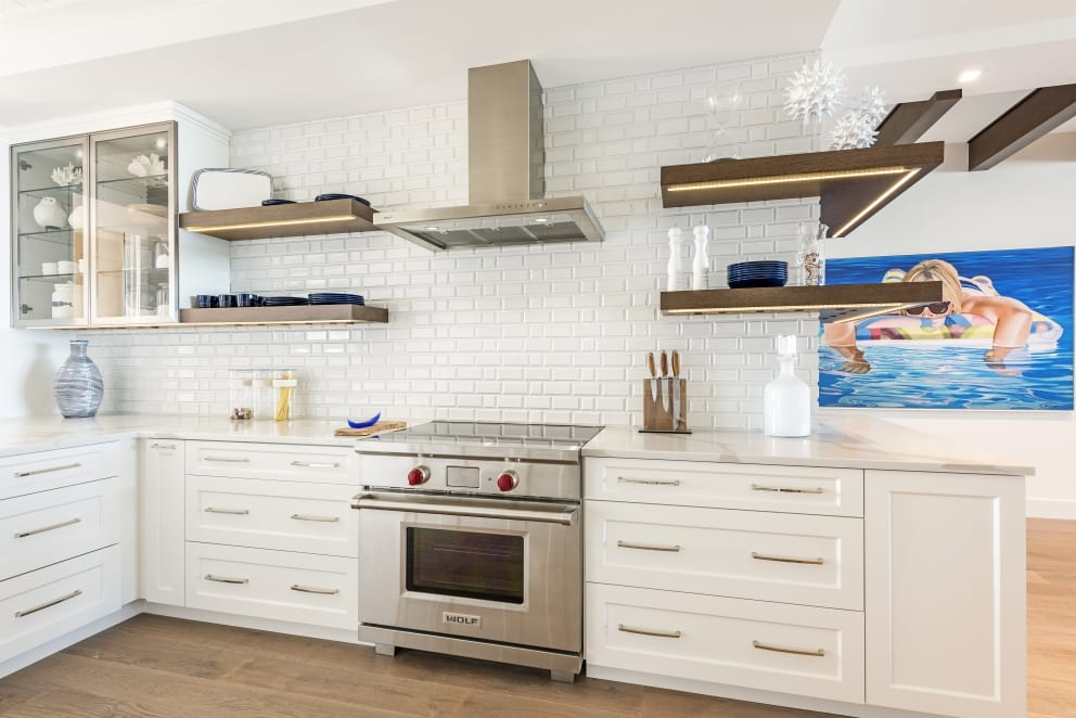 White Marble Counter Top Glass Cabinets Wood Floor Sun Bathing Painting