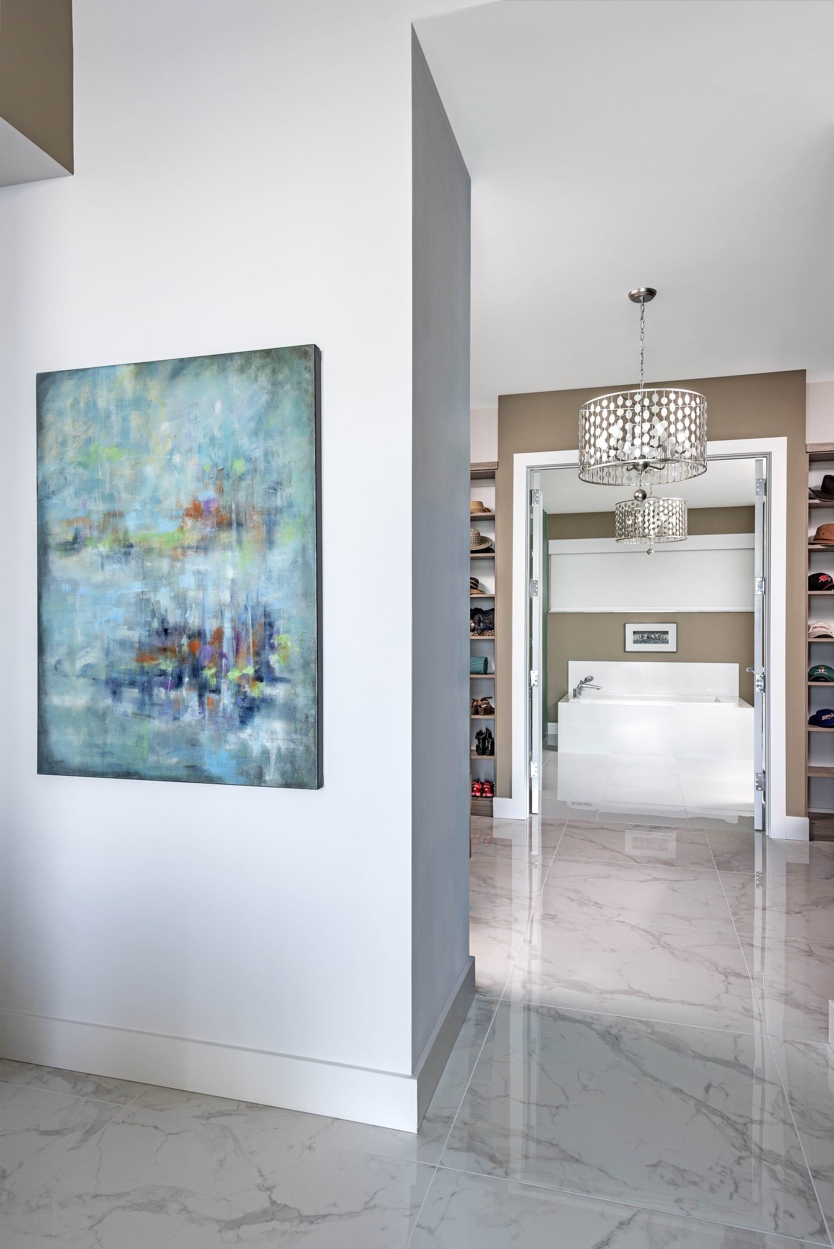 Meg Krakoviac Cyan Turquoise Painting Walk In Wardrobe Bathroom En Suite