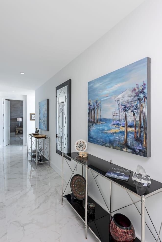 Meg Krakoviac Landsape Paintings Marble White Hallway