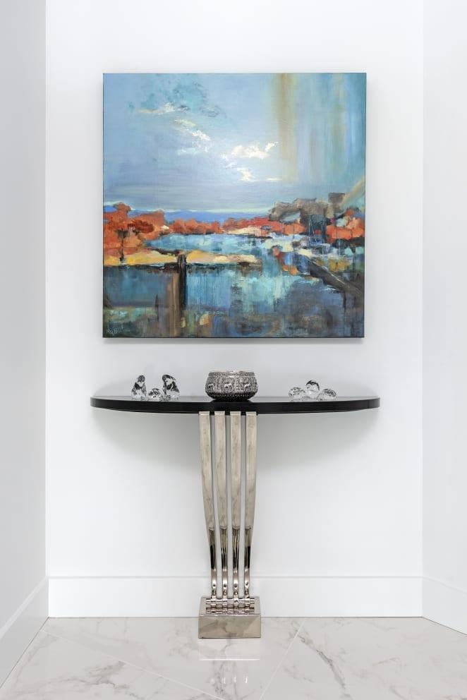 Meg Krakoviac Orange Blue Landscape Painting Decorative Table Silver Bowl Glass Crystal Ornaments