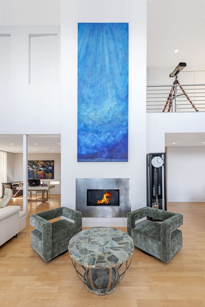 Robert Michelle Casarietti Deep Calm Painting Blue Metallic Open Fire Pace Satin Dark Green Arm Chairs Wood Floors