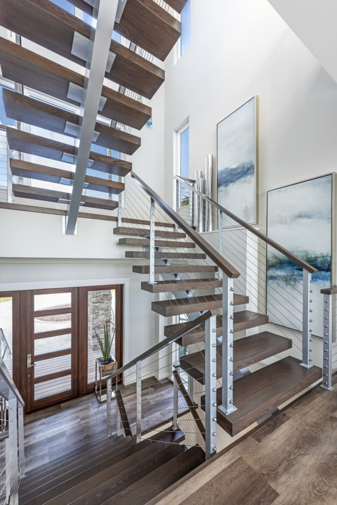 Entrance Wood Slat Stairwell