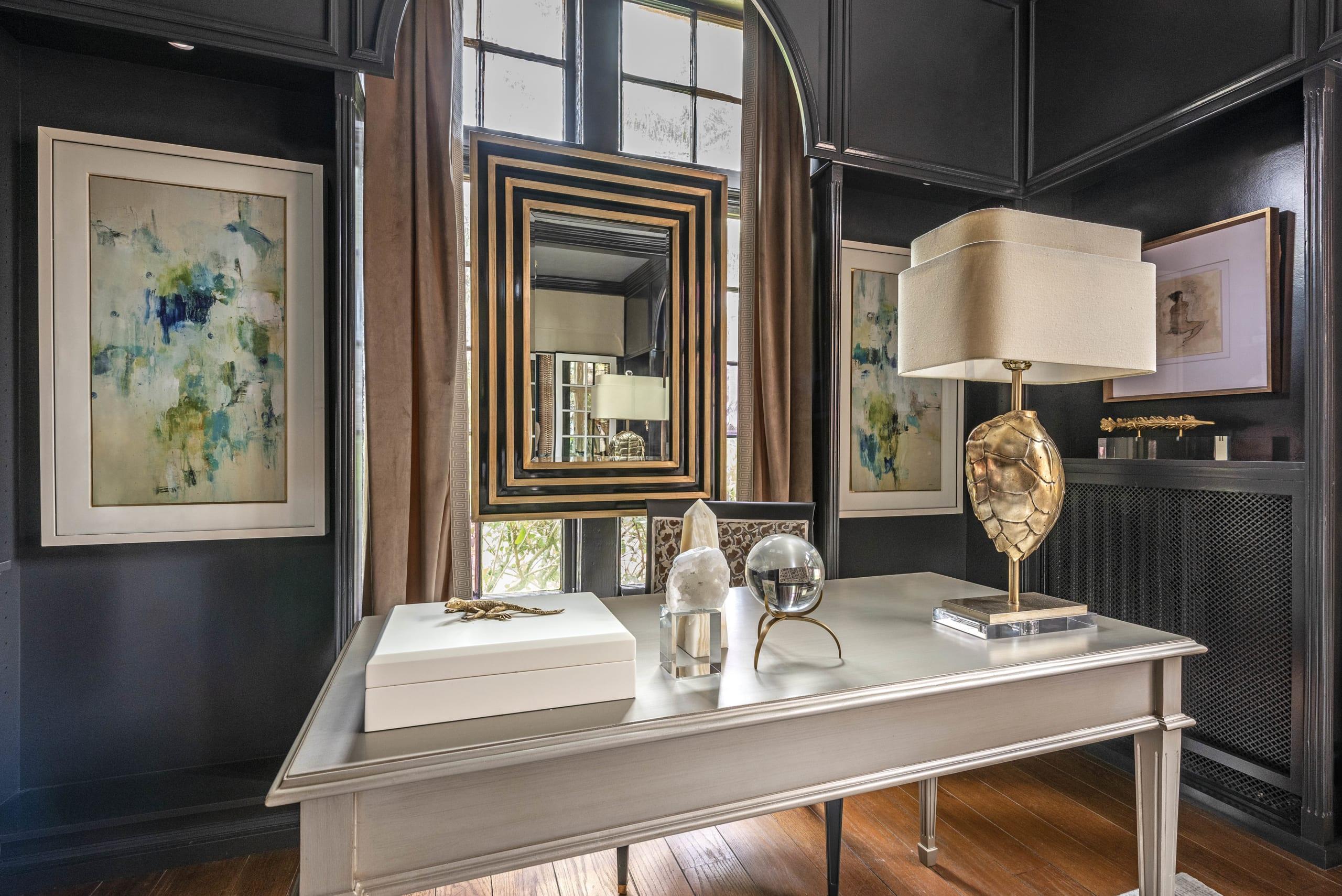 Kristin Pantone Black Interior Office Table Gold Turtle Lamp