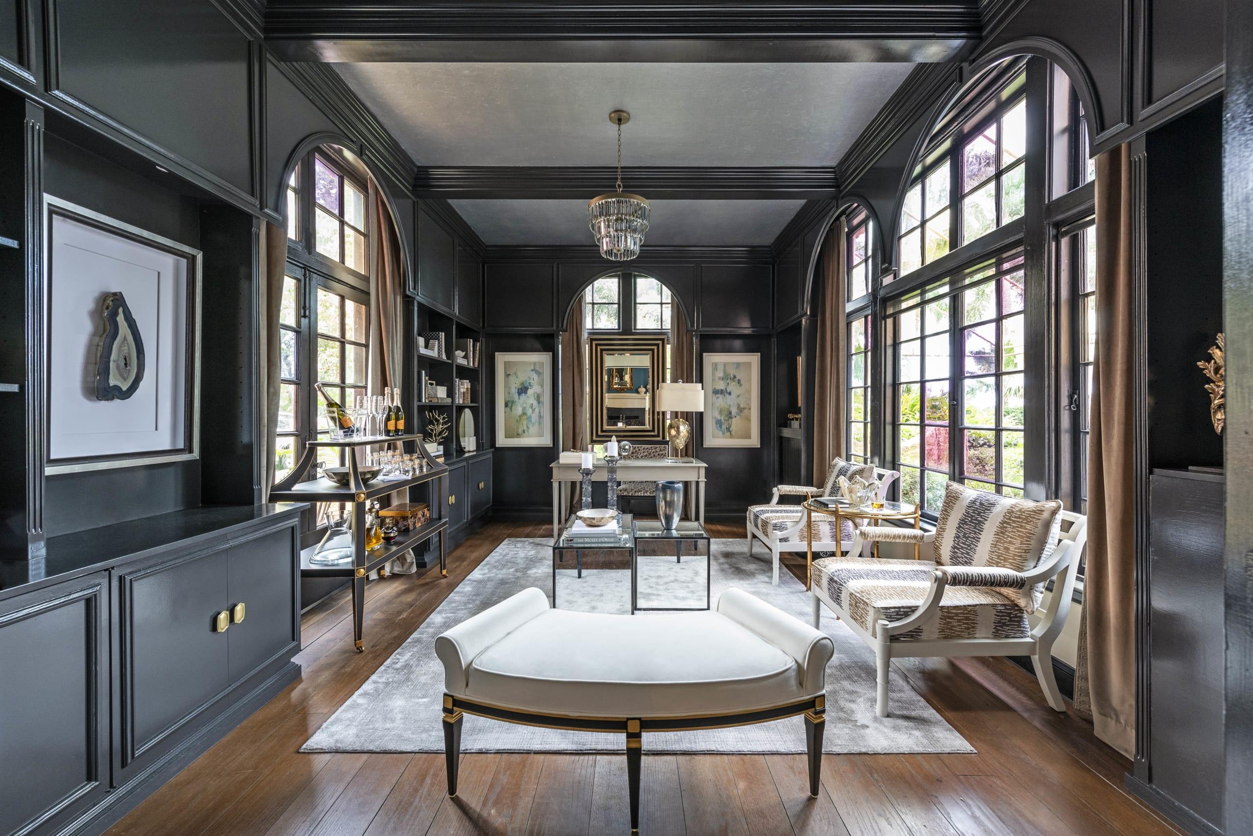 Kristin Pantone Black Interior Silver Ceiling Dark Wood Floors