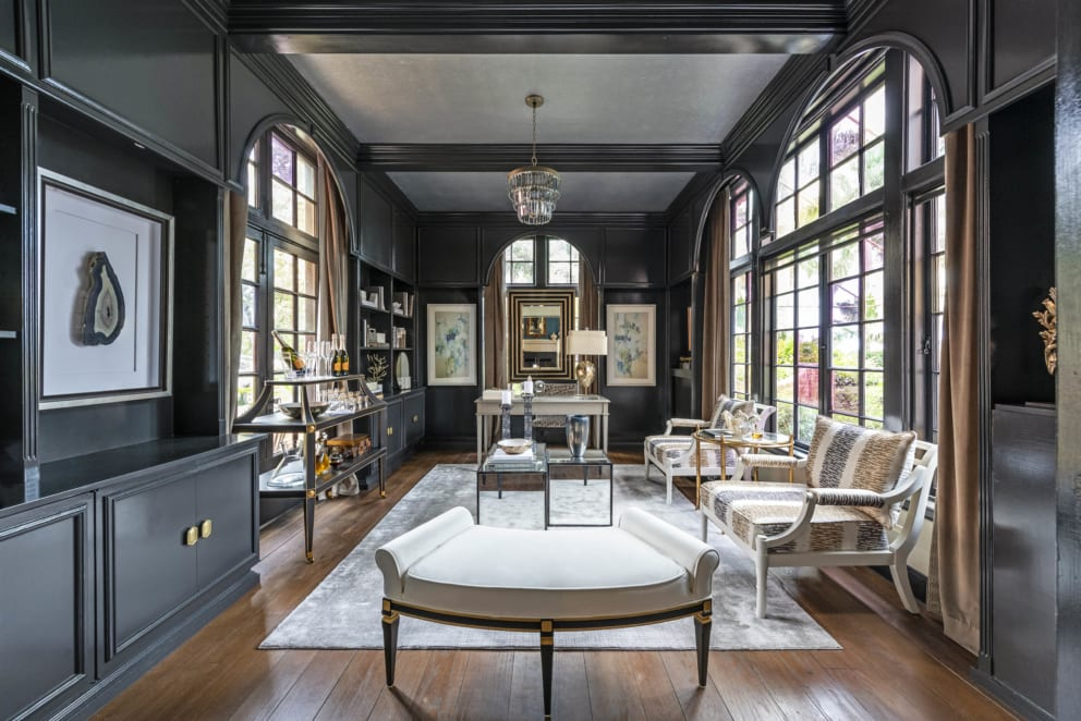 Kristin Pantone Black Interior Silver Ceiling Dark Wood Floors