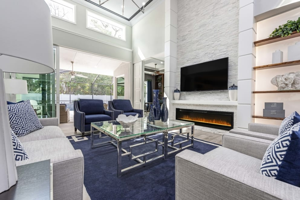 Linda Mixon Living Room Navy Blue Rug Accents
