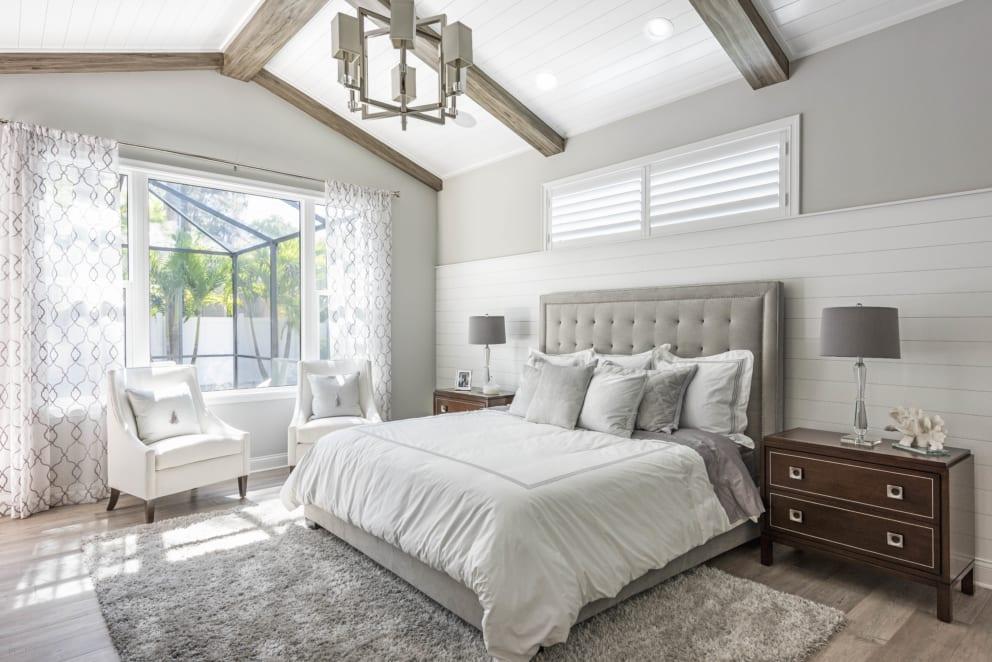 Linda Mixon Master Bedroom Grey White Dark Wood Bedside Draws