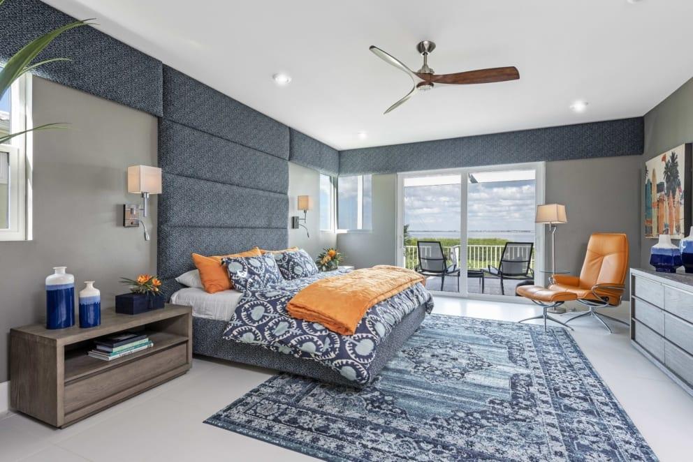 Master Bedroom Blue Grey Orange Accents