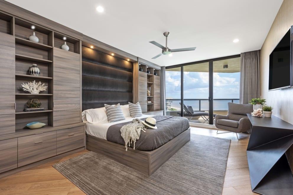 Master Bedroom Wood Cabinets Balcony