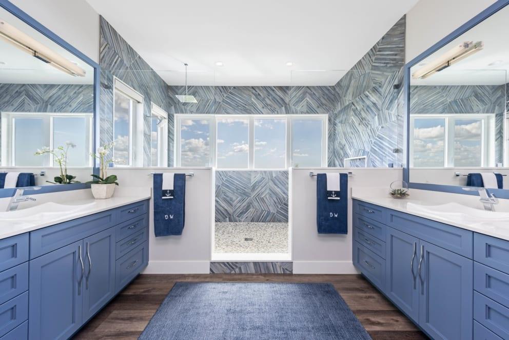 Multi Shades Blue Bathroom Wood Floors