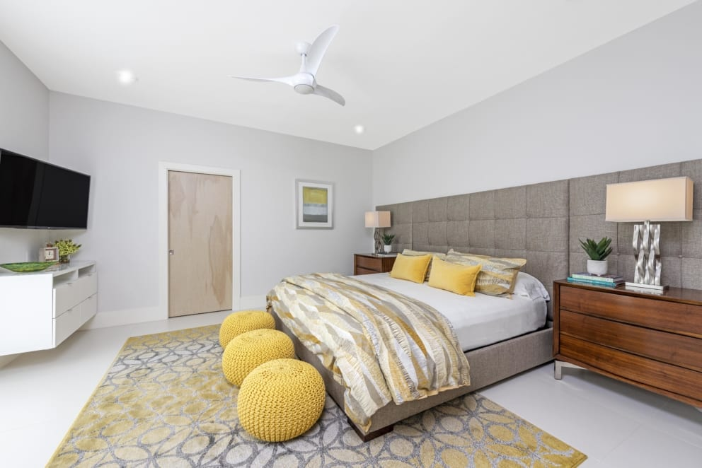 Off Grey Yellow Accents Bedroom