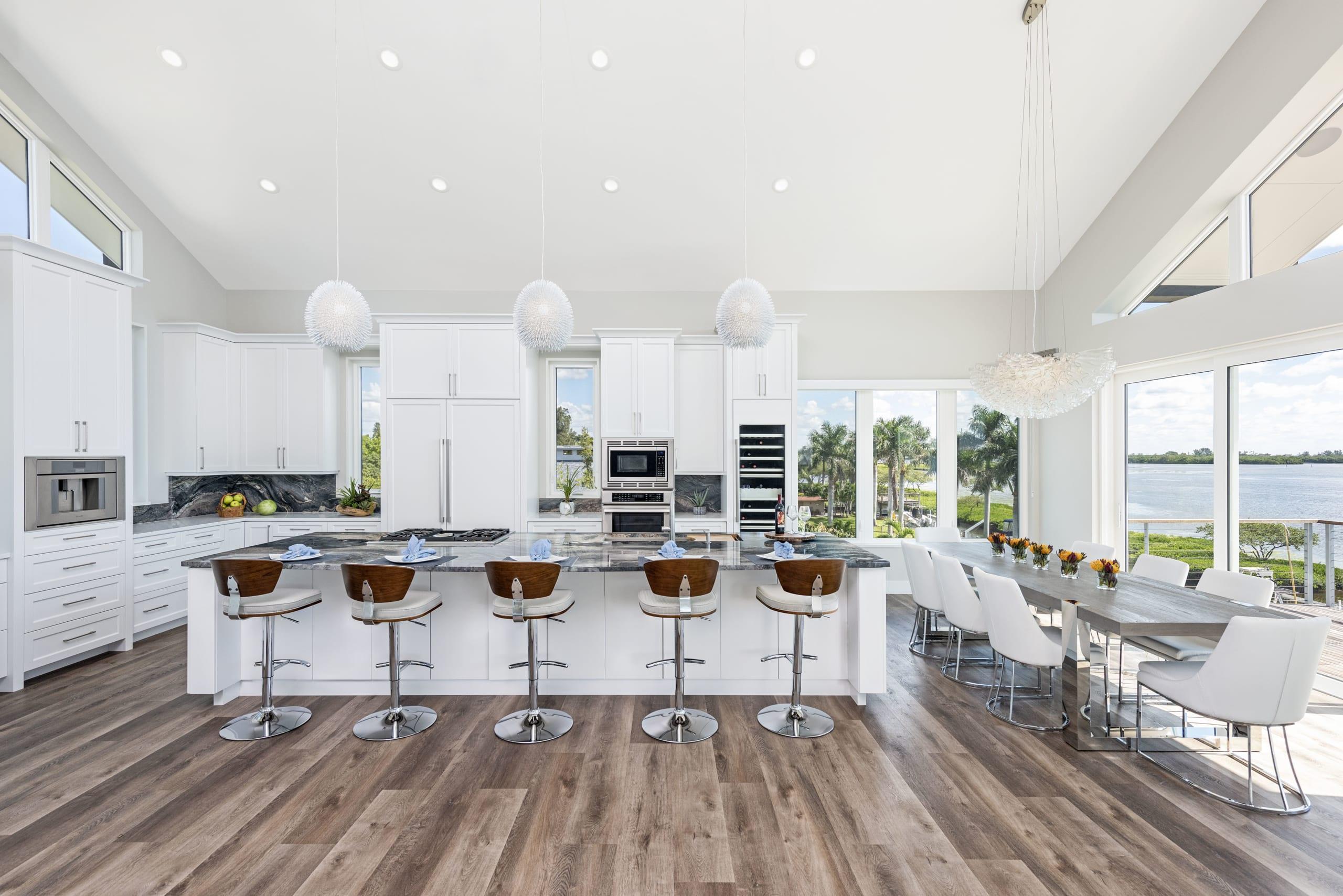 Open Plan Kitchen White Wood Flooring