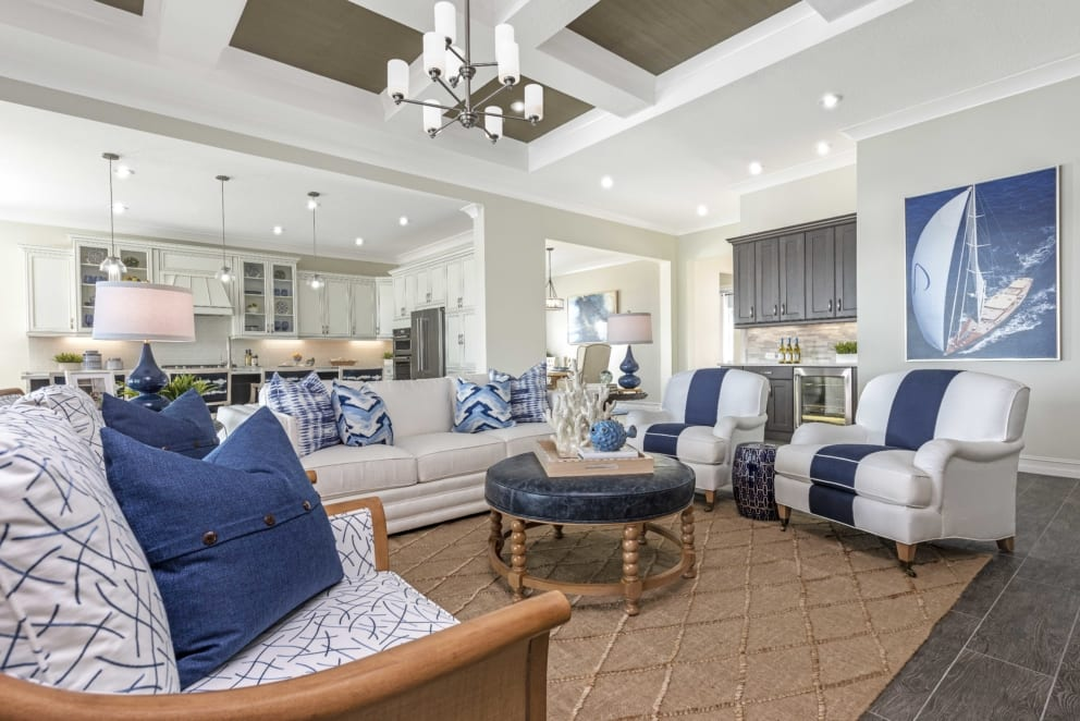Open Plan Livingroom Kitchen Blue Accents