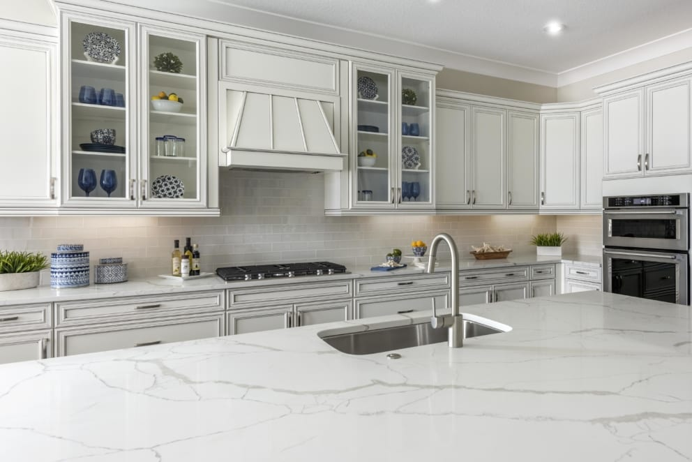 White Marble Top Kitchen Sink