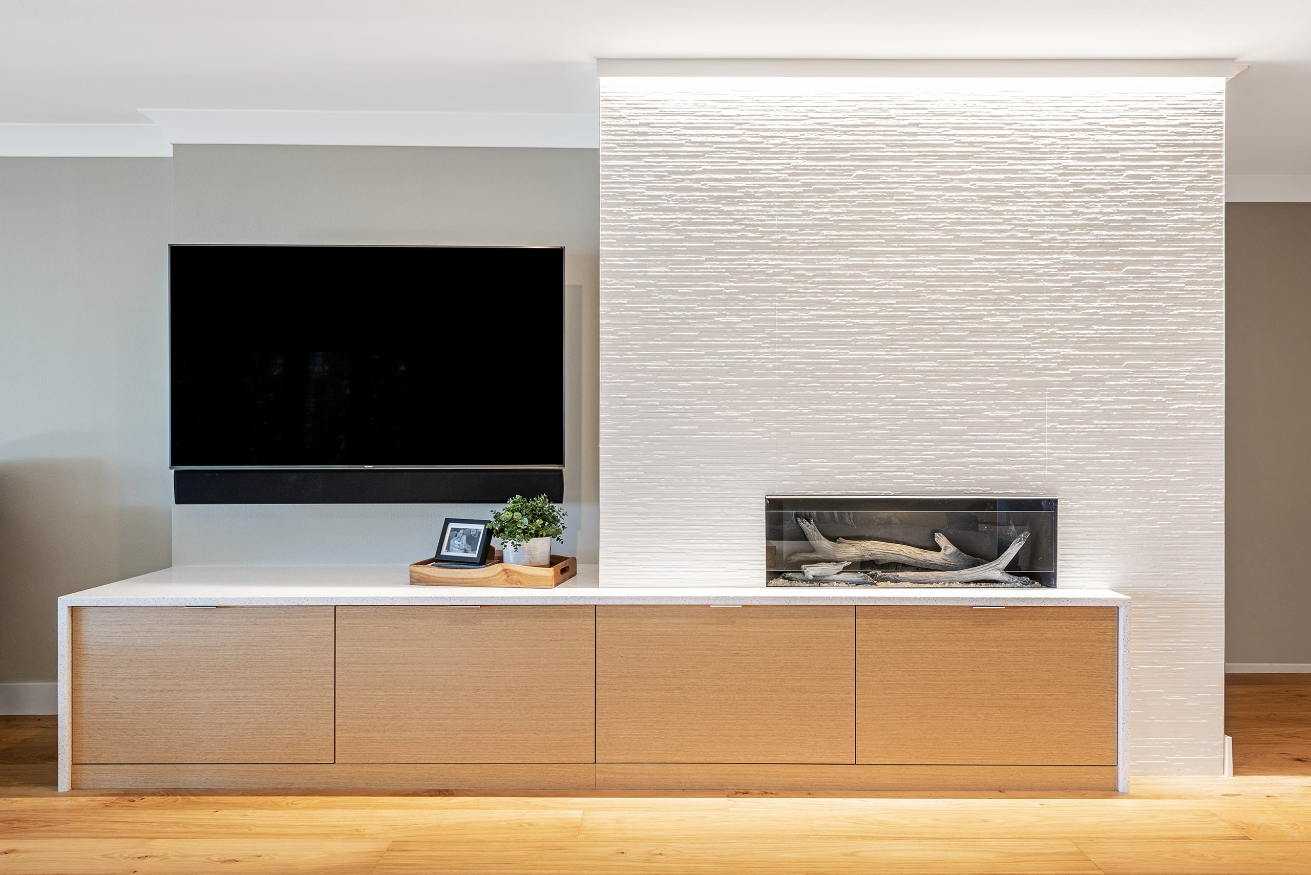 Chic On The Cheap Contemporary Livingroom Fireplace Tv Wood Cabinets