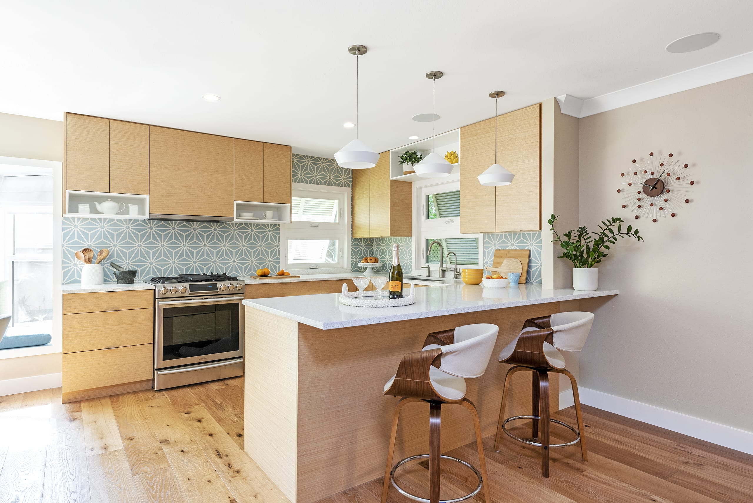 Chic On The Cheap Kitchen Modern White Counter Laminant Floors