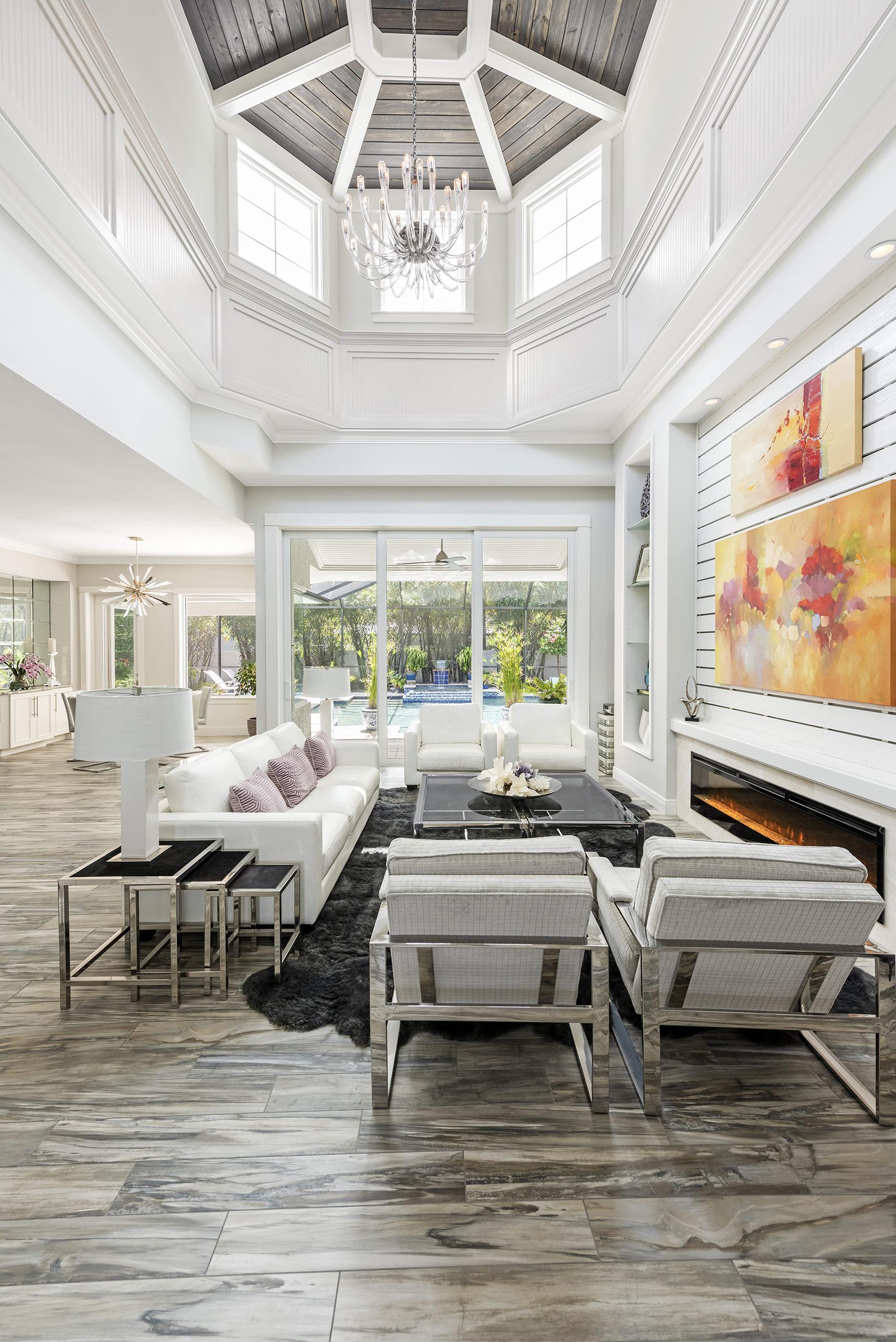 Linda Mixon High Ceiling Living Room