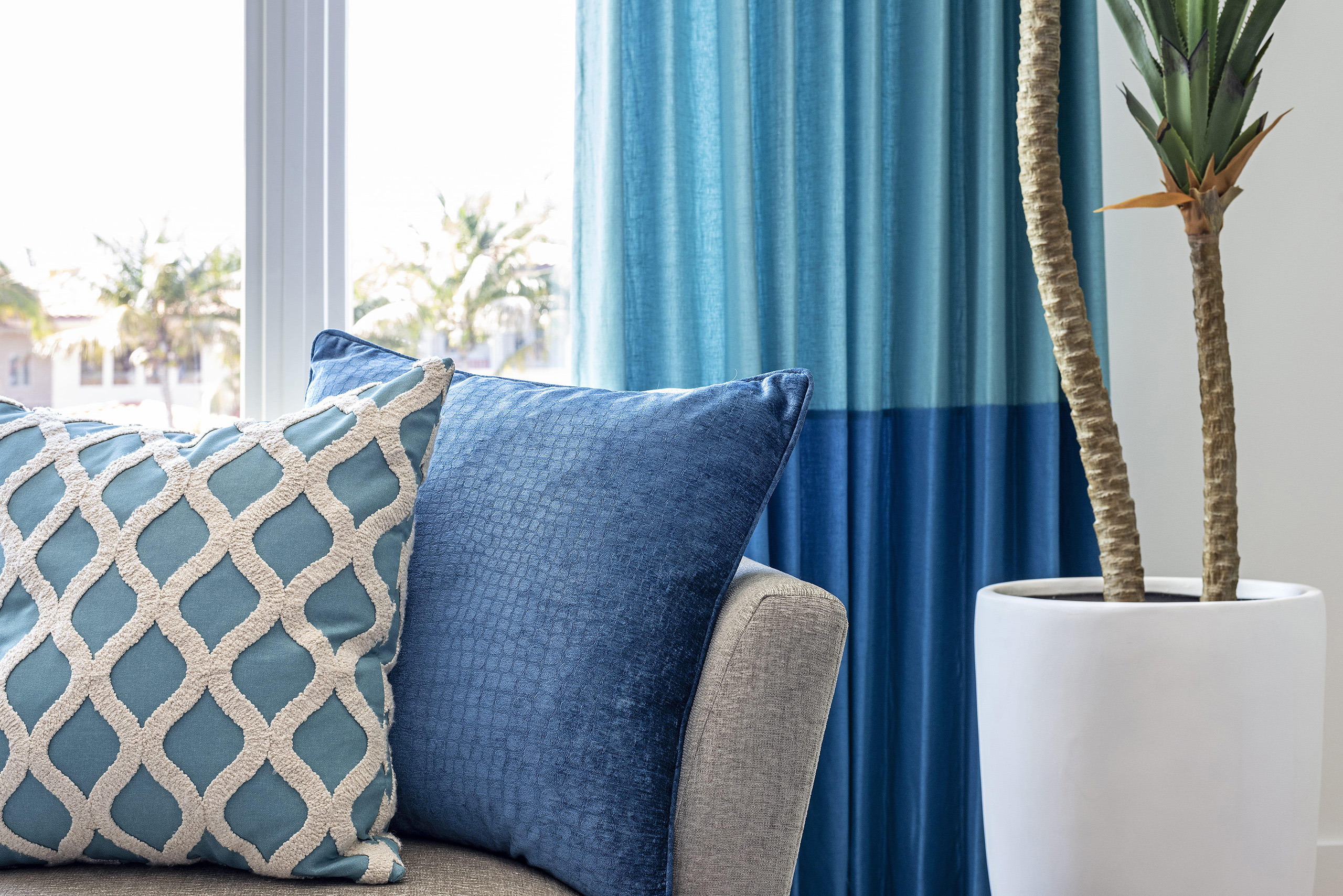 Linda Mixon Vignette Pillows Curtain Blue