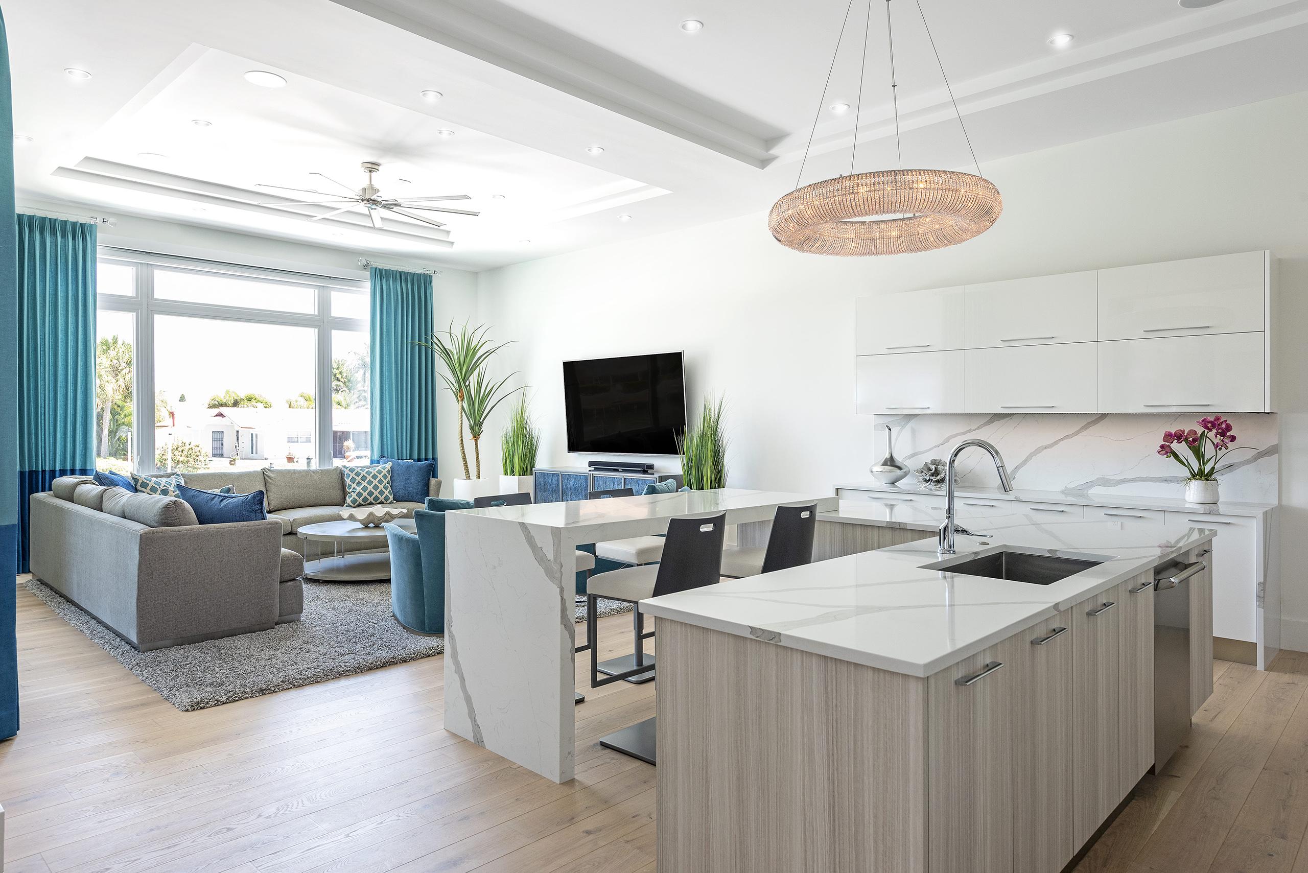 Linda Mixon White Marble Kitchen Coastal Living Room