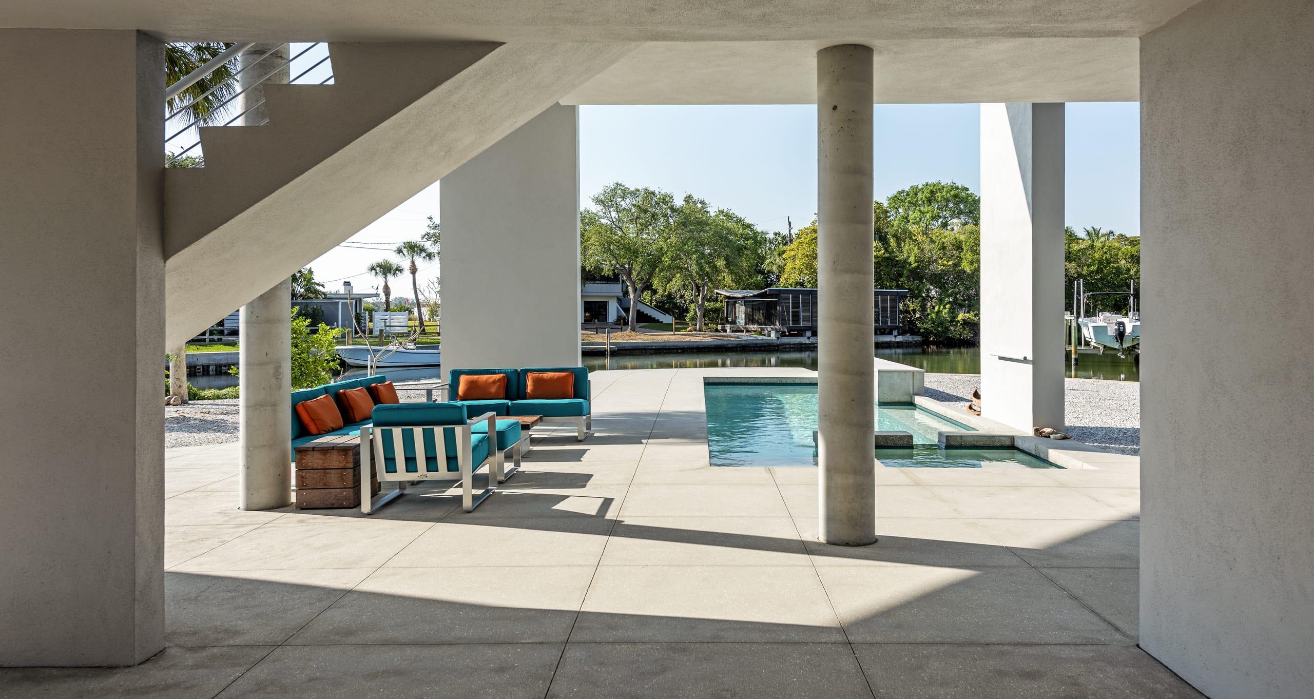Carl Abbott Pool Deck Structural Columns View