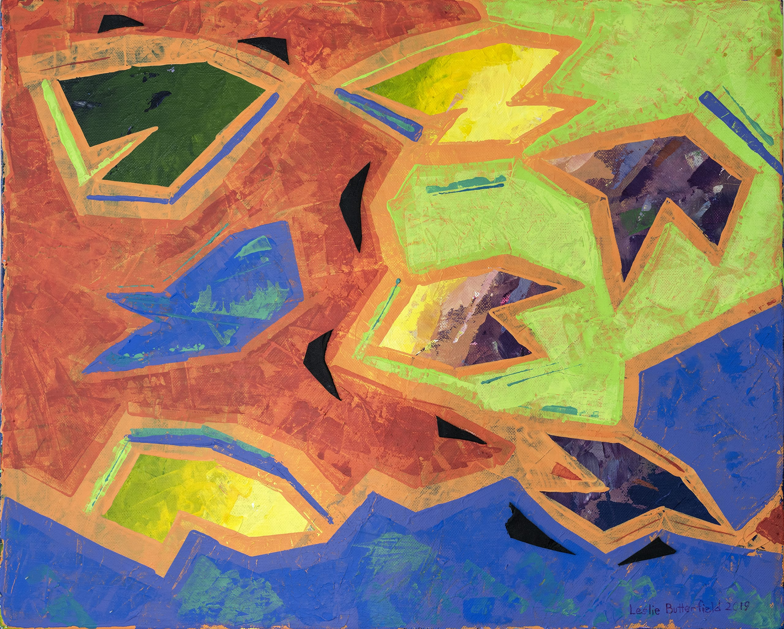 Leslie Butterfield Abstract Fish Painting