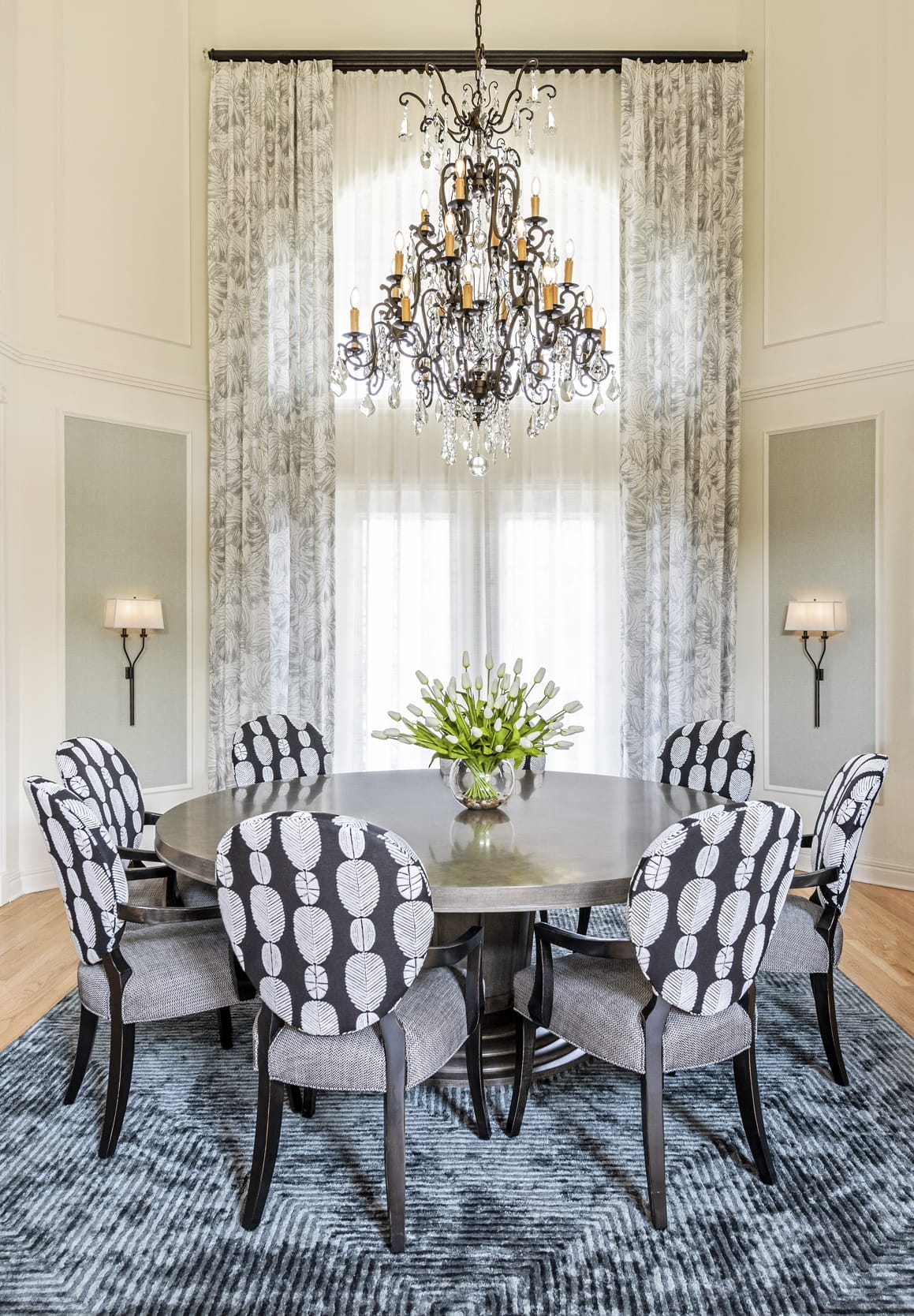 Dinning Table Black Feather Pattern Upholstered Chairs