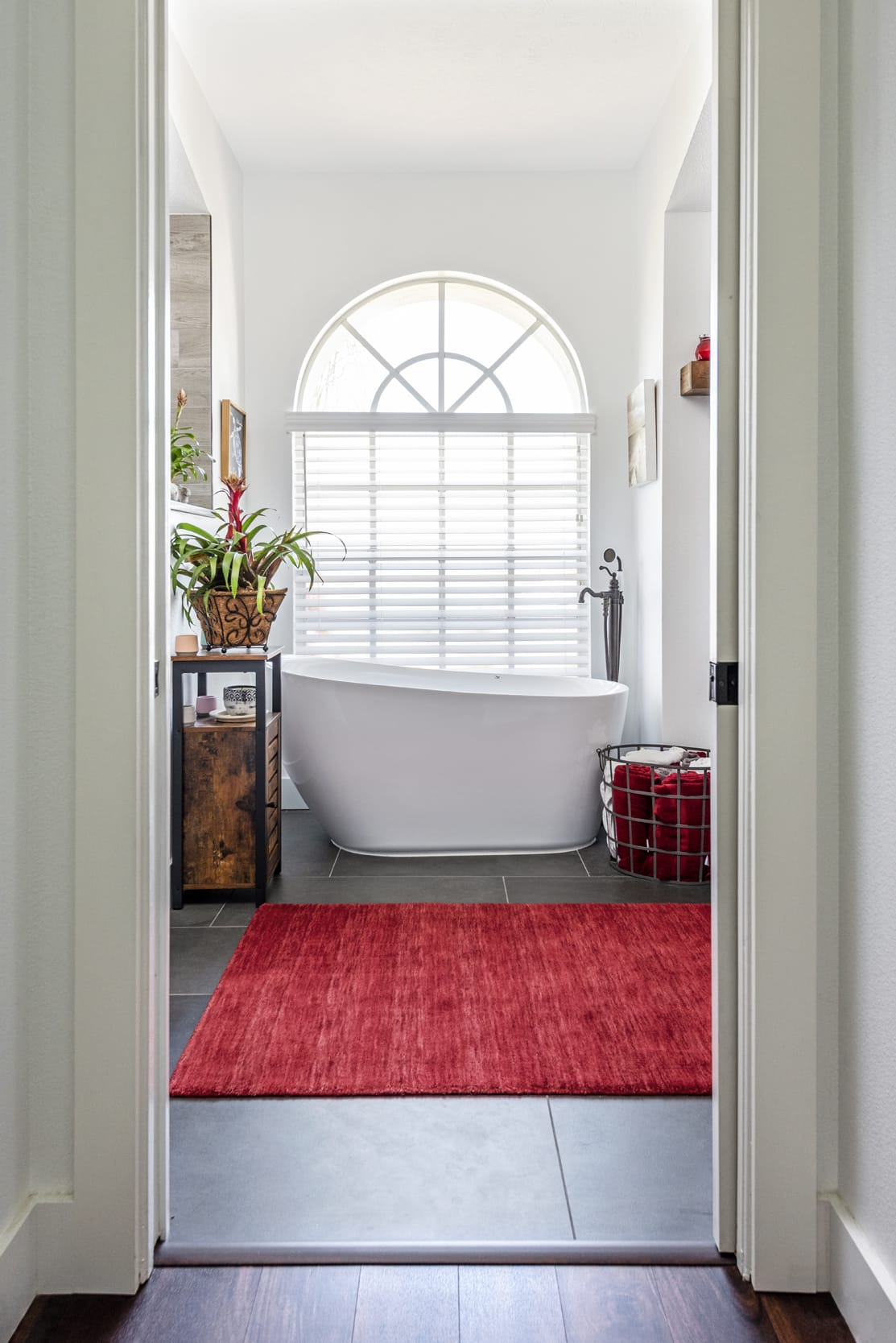 Doorway Bath Red Rug Arched Windows