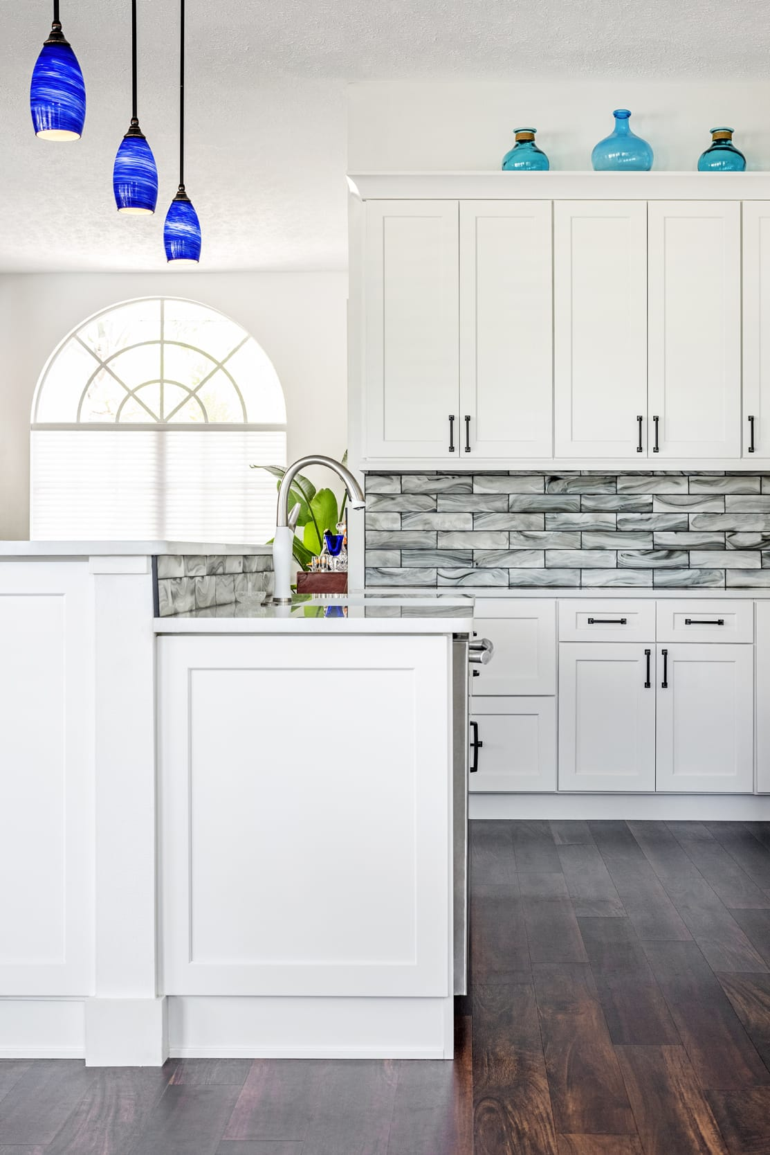 Kitchen White Breakfast Bar Grey Back Splash Tile Blue Marble Glass