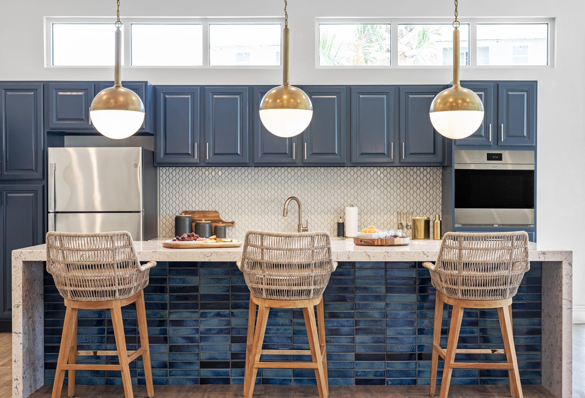 Studio121 Savona Club House Kitchen Breakfast Bar Dark Blue Cabinets