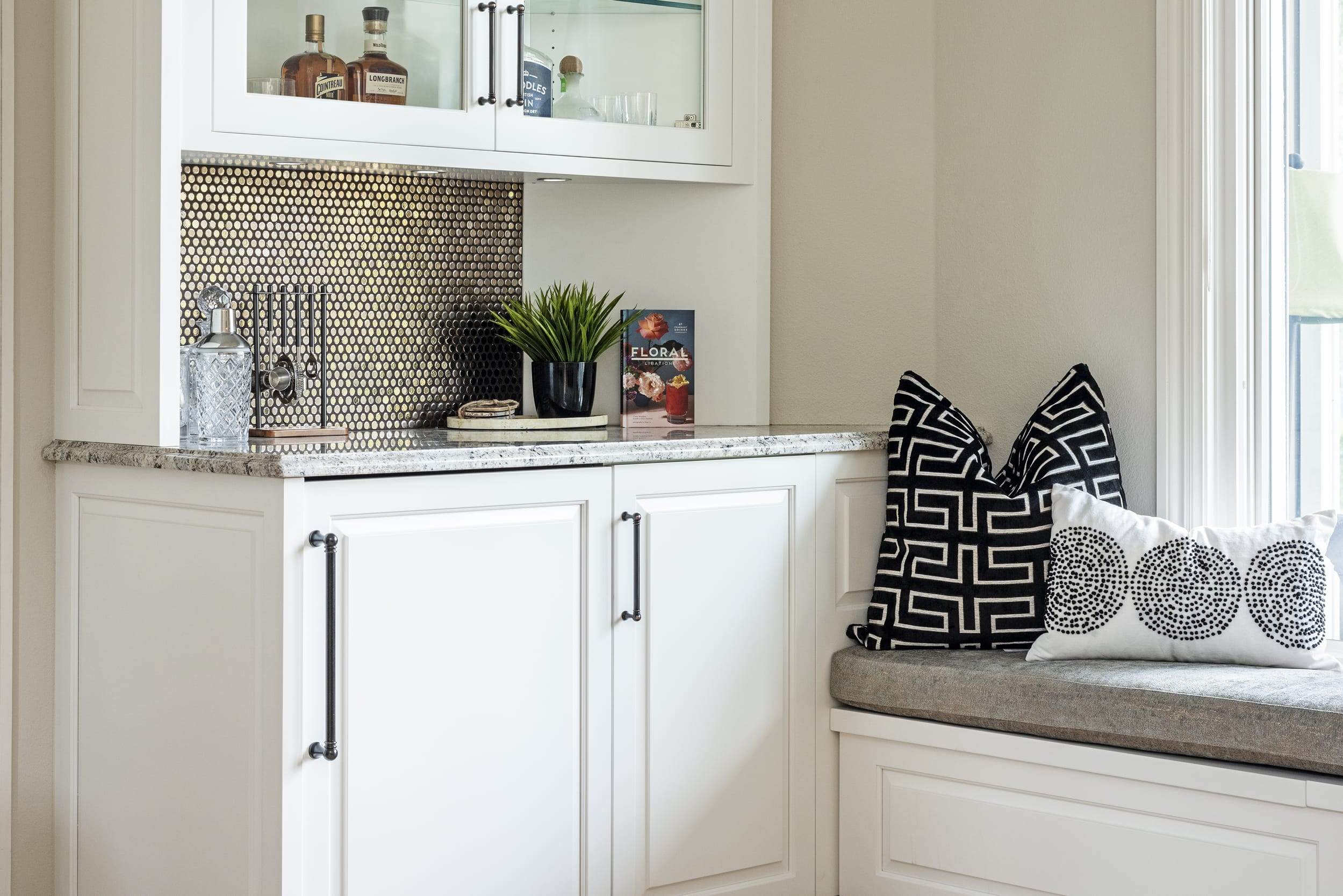 White Cabinets Bar Pillows